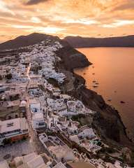 At sunrise over Oia