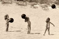On the beach with ball