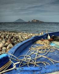 On the shore of the island of Panarea