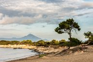 Karidi beach and Mount Athos