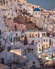 At sunset on Oia