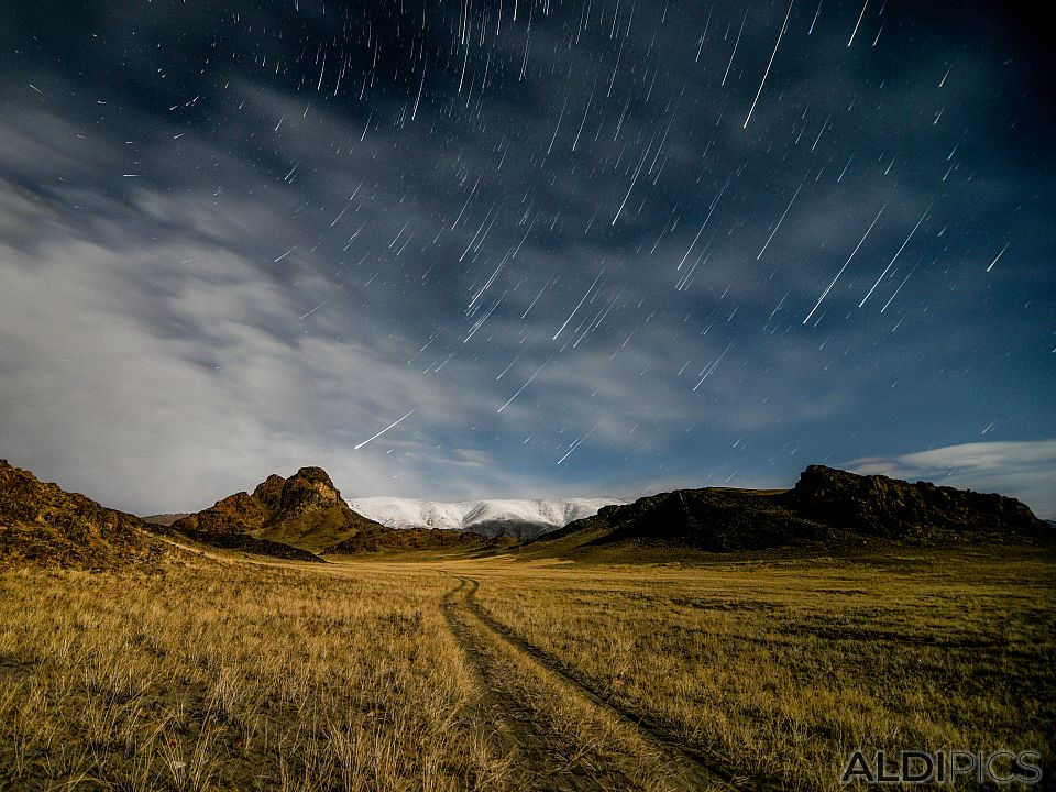 Starry sky on the steppe