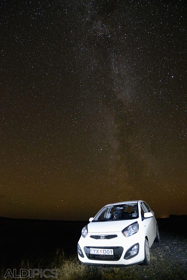 Milky Way over a Kia Picanto