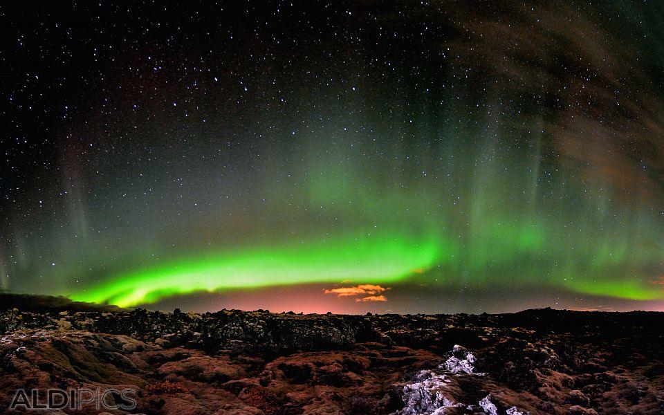 Северното сияние край Grindavik