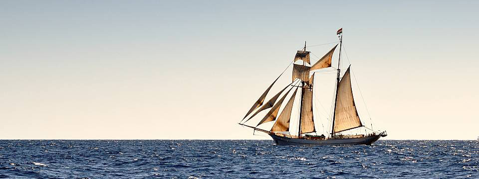Sailing ship near the island of Capri